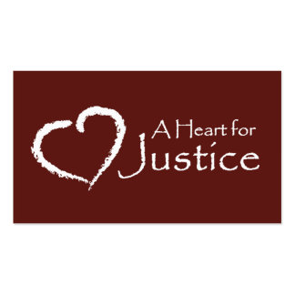 A Heart for Justice cards (maroon) Business Card