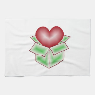 A Heart in a Gift Box - Green Towel