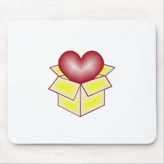 A Heart in a Gift Box - Yellow Mouse Pad
