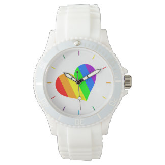 A heart in rainbow colors wristwatch