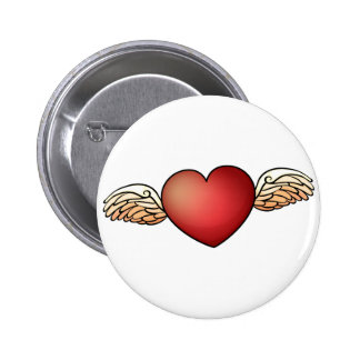 A heart with wings 6 cm round badge