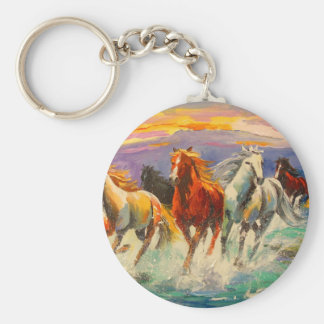 A herd of horses basic round button key ring