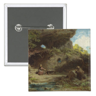 A Hermit in the Mountains 15 Cm Square Badge
