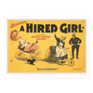 A hired girl musical comedy success postcard