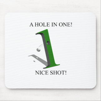 A Hole In One Golf Ball Mouse Pads