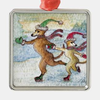A Holiday tradition - skating Metal Ornament