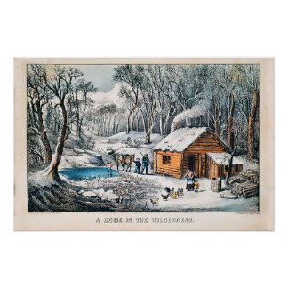 A Home in the Wilderness Currier & Ives Poster