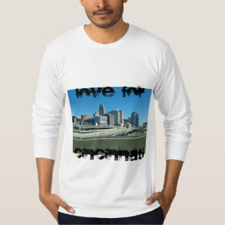 A hooded sweatshirt with downtown Cincinnati .