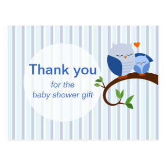 A Hoot Of A Baby Shower Blue Thank You Postcard