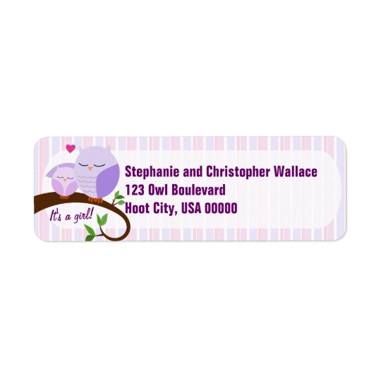 A Hoot Of A Baby Shower Purple Address Label