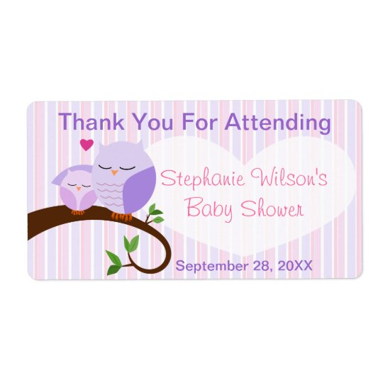 A Hoot Of A Baby Shower Purple & Pinks Favour Shipping Label