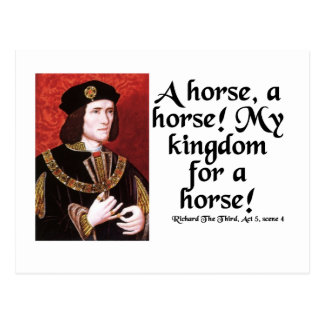 """A Horse, A Horse!  My Kingdom for a Horse!"" Postcard"