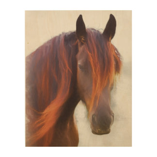 A horse named Red wood print
