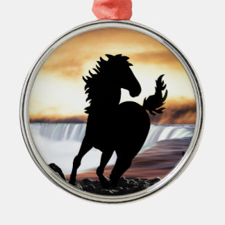 A horse silhouette and waterfall christmas tree ornaments
