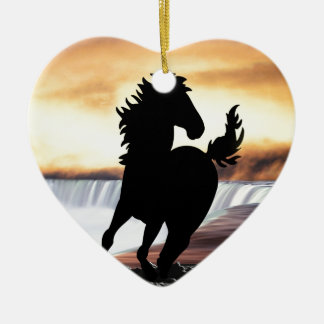 A horse silhouette and waterfall ornament