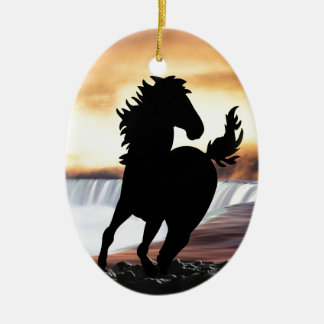 A horse silhouette and waterfall ornaments