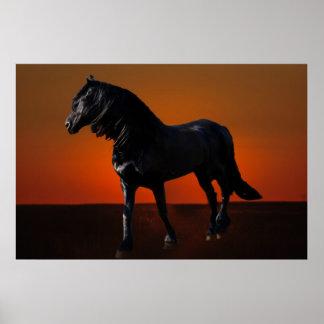 A horses sunset romp poster
