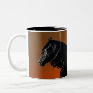 A horses sunset romp Two-Tone mug