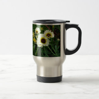 A host of yellow daisies stainless steel travel mug