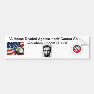 """""""A House Divided"""" Anti-Obama Bumper Sticker Car Bumper Sticker"""
