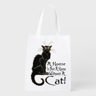 """A House IS Not A Home Without A Cat"" - Grocery Ba Reusable Grocery Bag"