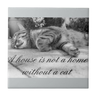 A house is not a home without a cat tile. small square tile