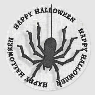 A Huge Black Halloween Spider and Shadow Classic Round Sticker