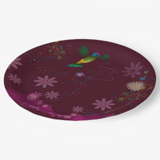 A Hummingbird Painter Paper Plate