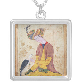 A Hunter Stroking his Falcon Silver Plated Necklace