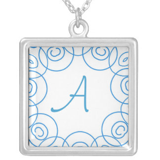 """""""A"""" initial in Blue Scroll on White, Fun Design Necklaces"""