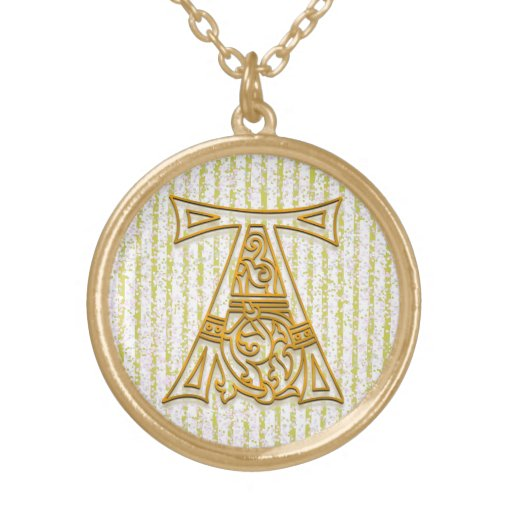 """A Initial Monogram """"Gold Pin Stripe"""" Necklace Pendant"""