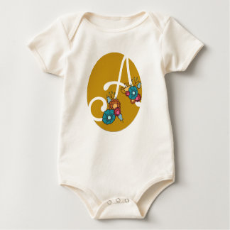 """""""A"""" initial personalized floral design Baby Bodysuit"""