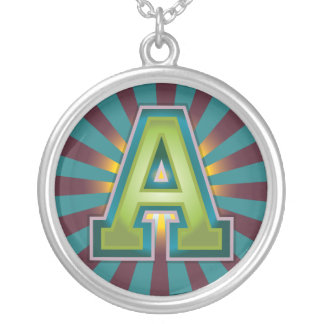 A Initial Round Pendant Necklace