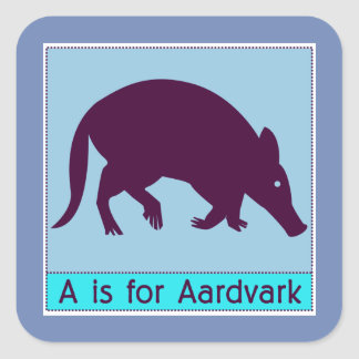 A Is For Aardvark Animal Alphabet for Kids Square Sticker