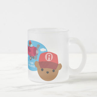 a is for aeroplane frosted glass mug
