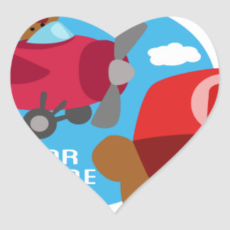 a is for airplane heart sticker