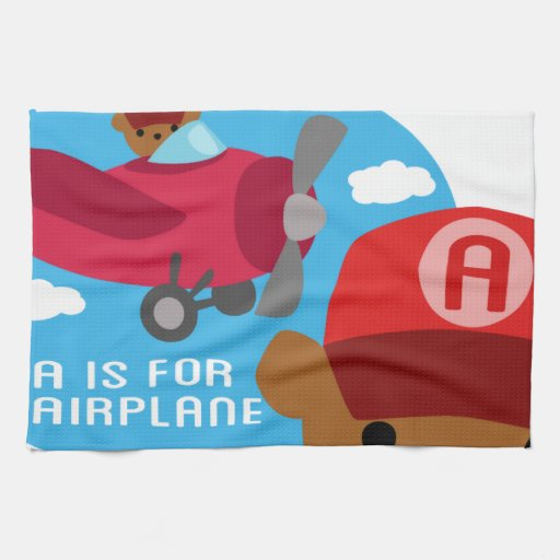 a is for airplane kitchen towel