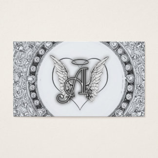 A is for Angel Initial with Heart Monogram Business Card