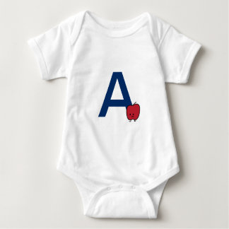 A is for Apple alphabet abc letter learning Baby Bodysuit