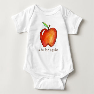 A is for Apple Red Delicious Fruit ABCs Alphabet Baby Bodysuit