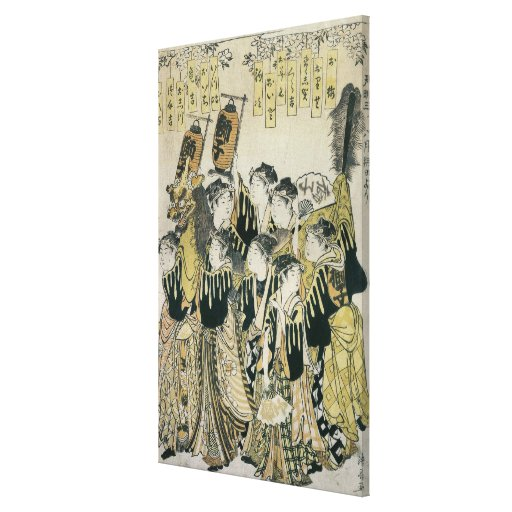 A Japanese Orchestra, Tosa School Stretched Canvas Print