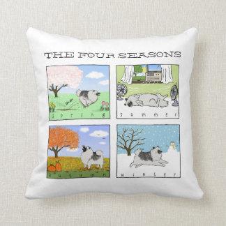 A Keeshond Enjoys the Four Seasons - Fun Dog Art Cushion