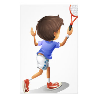 A kid playing tennis personalized stationery