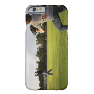 A kid wearing a baseball glove waits for his dad barely there iPhone 6 case
