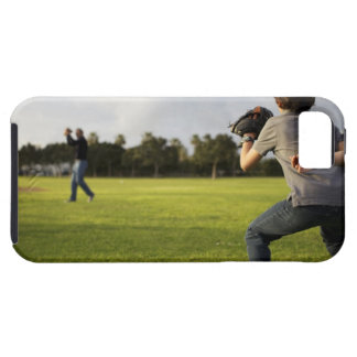 A kid wearing a baseball glove waits for his dad iPhone 5 case