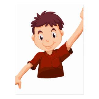A kid wearing a red shirt postcard
