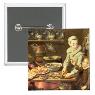 A Kitchen Interior 15 Cm Square Badge