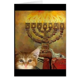 A kitten and a Menorah Card