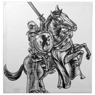 A knight holding a sword and shield on the back of napkin