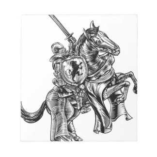 A knight holding a sword and shield on the back of notepad